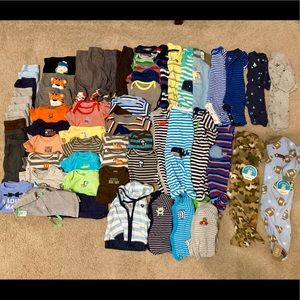 Lot of NB baby boys clothing, over 60 items